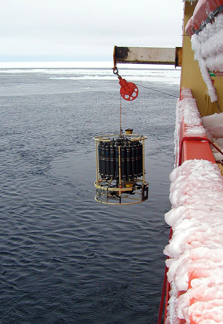 CTD instrument being lowered into the water.