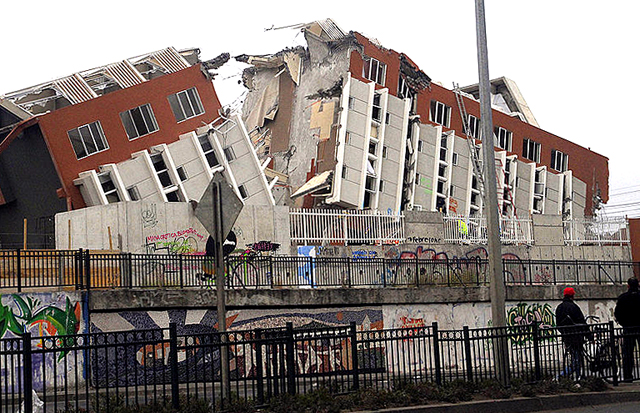Damaged building in Chile after earthquake.