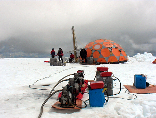 Ice core camp on the summit of Quelccaya in Peru in 2003.