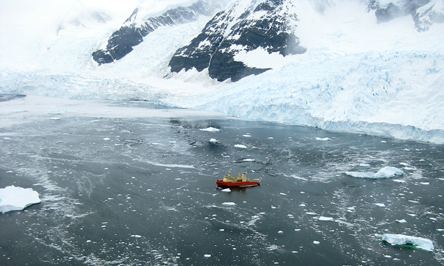 Ship in water near Antarctic Peninsula.