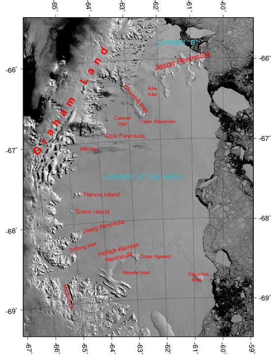 Satellite imagery of Larsen C Ice Shelf.