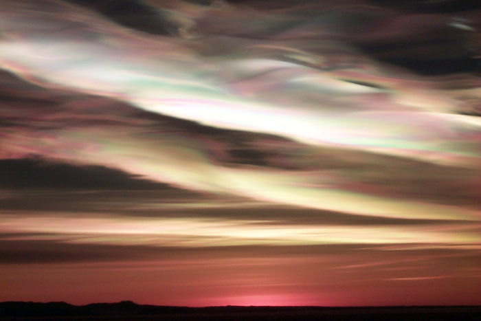 Polar stratospheric clouds over McMurdo Station.
