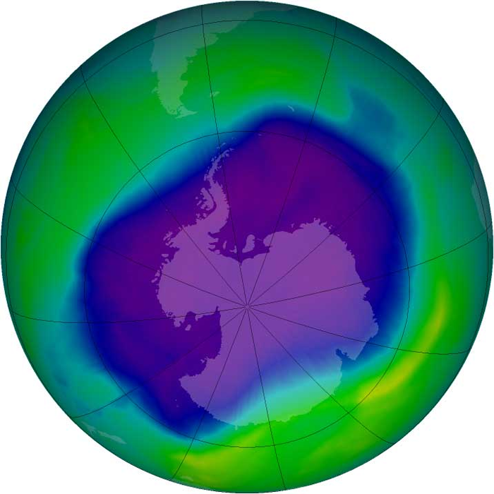 A graphic of the 2006 ozone hole over Antarctica.