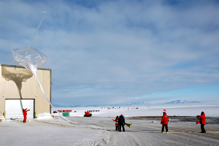 Launching an ozonesonde from McMurdo Station.
