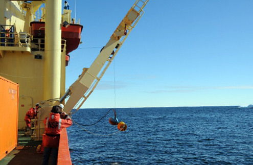 An acoustic instrument is deployed from the Palmer.