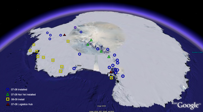 Map of Antarctic POLENET Sites