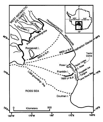 Map shows retreat of WAIS grounding line over time.