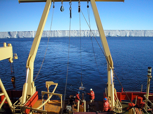 Ship deploys an instrument in the Ross Sea.