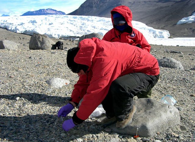 Scientists collect soil samples in Dry Valleys.