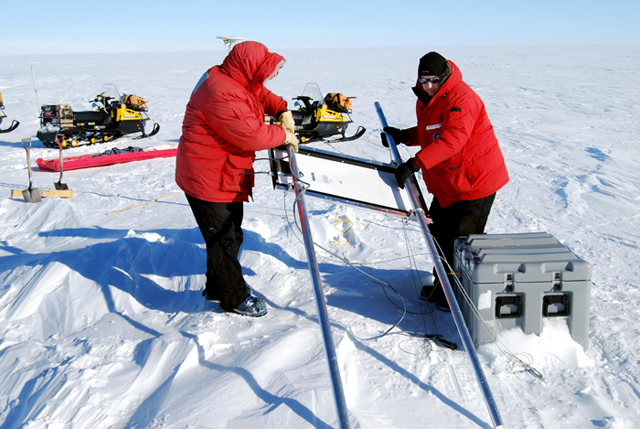 Scientists set up a GPS station over a subglacial lake.