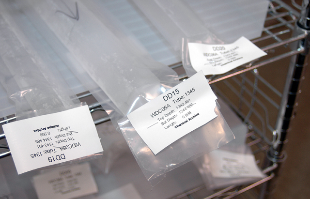 Ice wrapped in plastic bags.