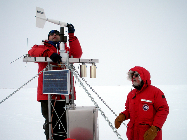 Scientists set up a weather station in Antarctica.