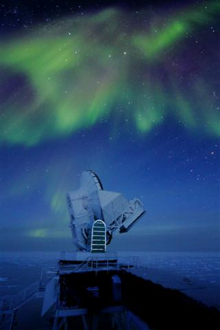 Aurora around telescope.