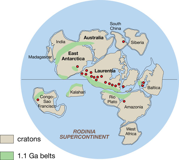 Map of supercontinent Rodinia.
