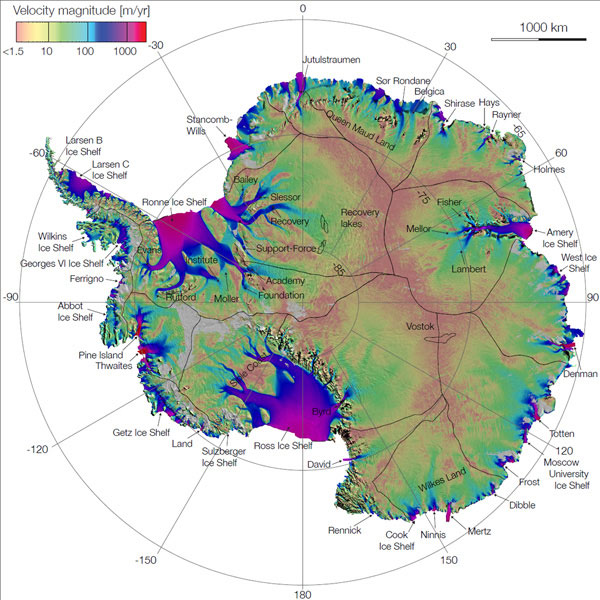 Colorful map of Antarctica.