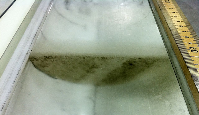 Ice core with ash layer.