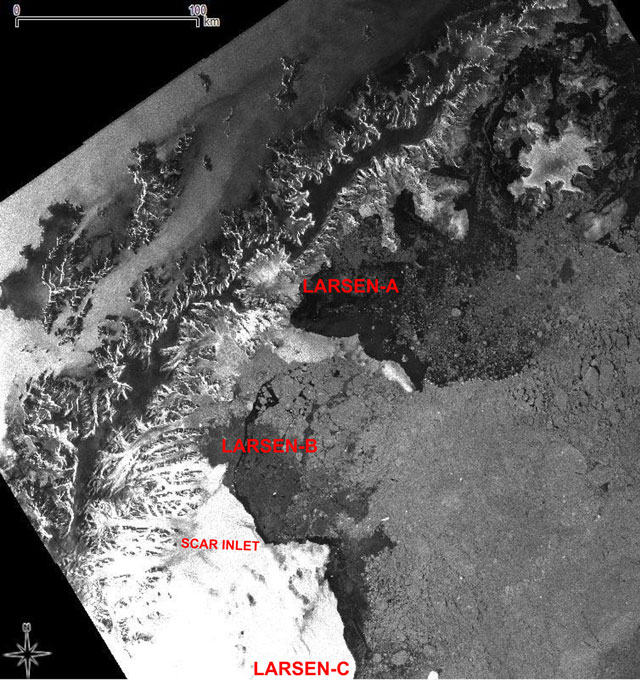 Satellite image of ice shelf