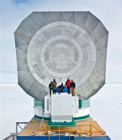 Telescope dish with people in front.
