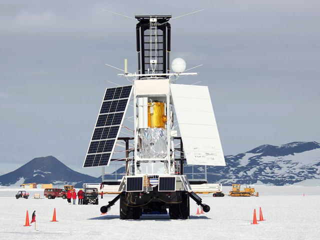 Spacecraft-looking instrument stands on ice.
