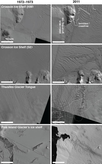 Satellite images of ice shelves.