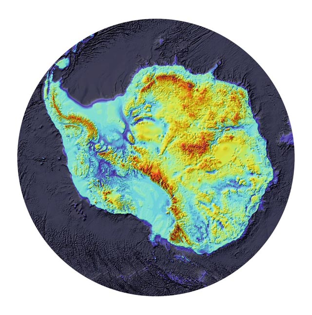 Image of Antarctica without ice.