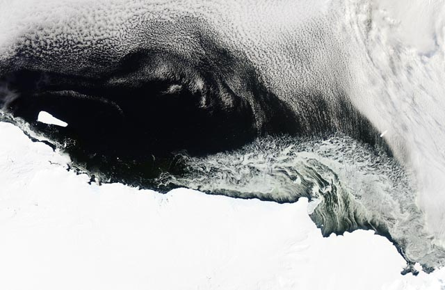 Satellite image of ice and sea.