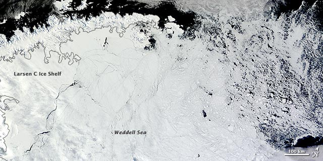 Satellite image of part of Antarctica.
