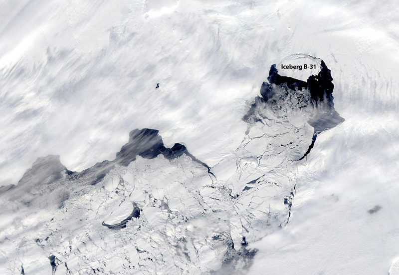 Satellite image of ice and clouds.