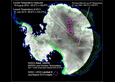 This image shows the location of record low temperature measurements for Antarctica.