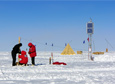 Scientists at Virginia Tech install a high-frequency dipole antenna in East Antarctica.
