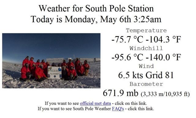 Weather data at the South Pole.