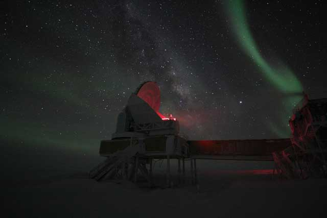 Red light illuminates telescope.