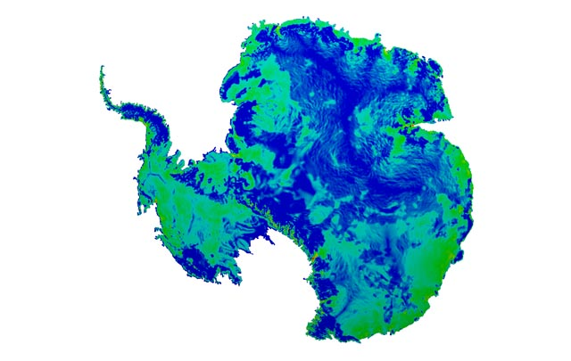 Blue and green map of Antarctica.