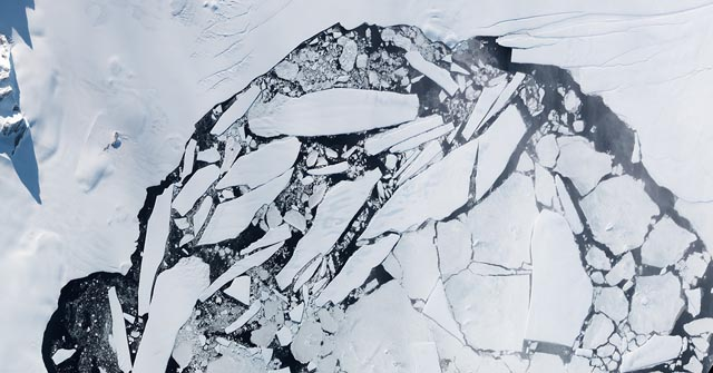 Satellite image of ice shelf and icebergs.