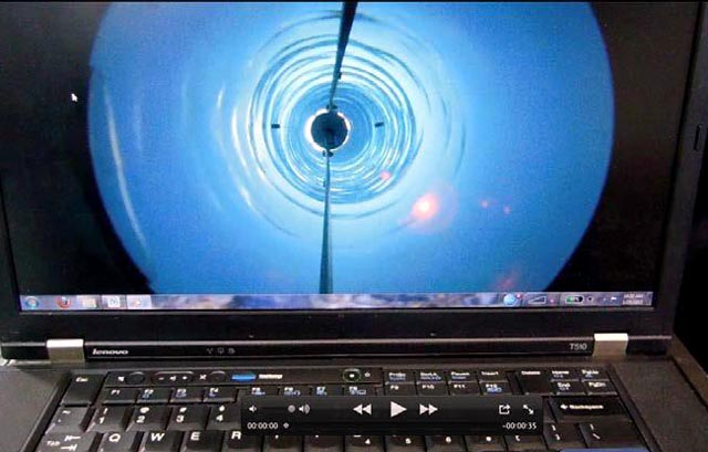 Camera image of ice hole.