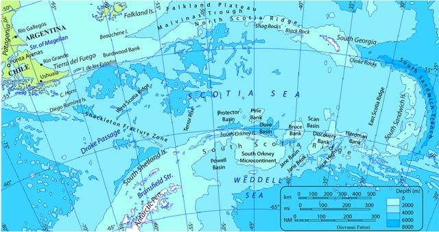 Map of sea between continents.