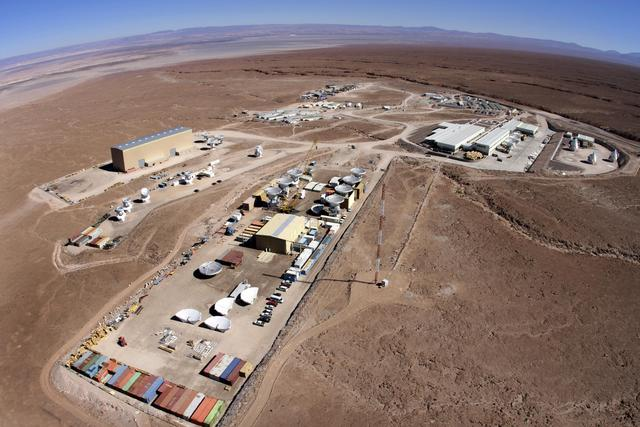 Aerial view of telescope complex.