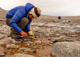 Scientist Aneliya Sakaeva collects an algal sample from a stream in Taylor Valley, McMurdo Dry Valleys