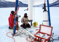 A special drill is used to extract ice cores from Taylor Glacier for a study using microscopic grains of dust.
