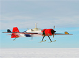 The G1X, a modified radio-controlled aircraft, returns from a flight in West Antarctica.