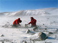 Scientists collect rocks in the Transantarctic Mountains that are 1.4 billion years old.