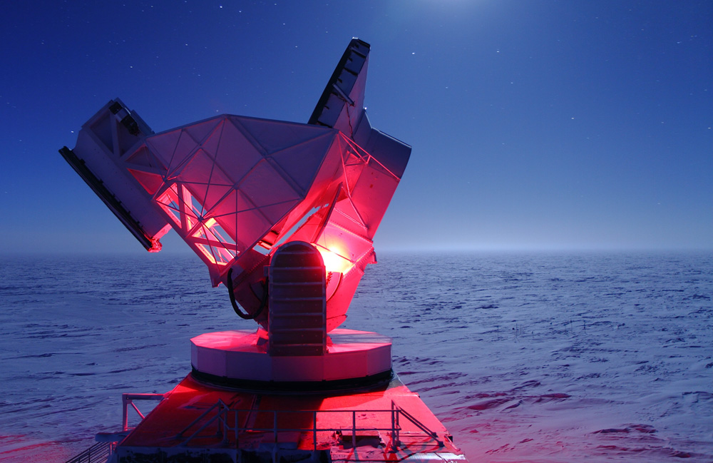 Telescope illuminated in red light.