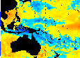 El Niño is clearly visible in this October 12 satellite image, as a red band of warming water in the Pacific Ocean.
