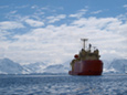 Onboard the Antarctic Research Vessel Laurence M. Gould, water samplers measure the carbon dioxide of the ocean as it crosses it.