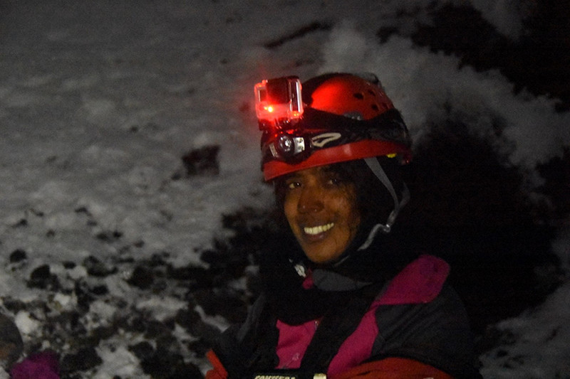 Postdoc Tehnuka Ilanko of the University of New Mexico worked with Fischer to sample the gas inside the ice caves